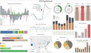 Acumatica Dashnboard-CFO charts and graphs
